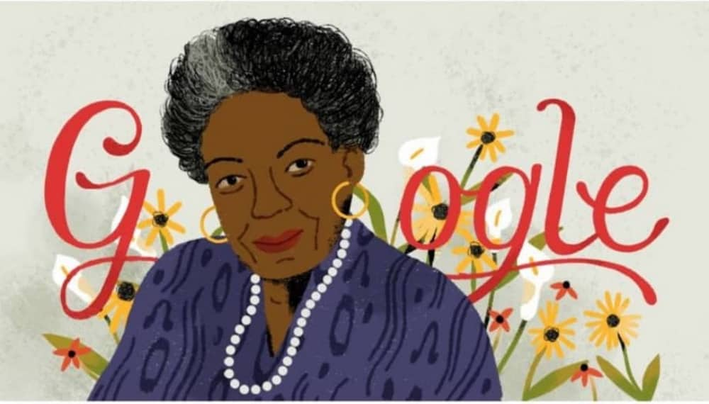 Google doodle illustration Mary Angelou activist on her 90th birthday
