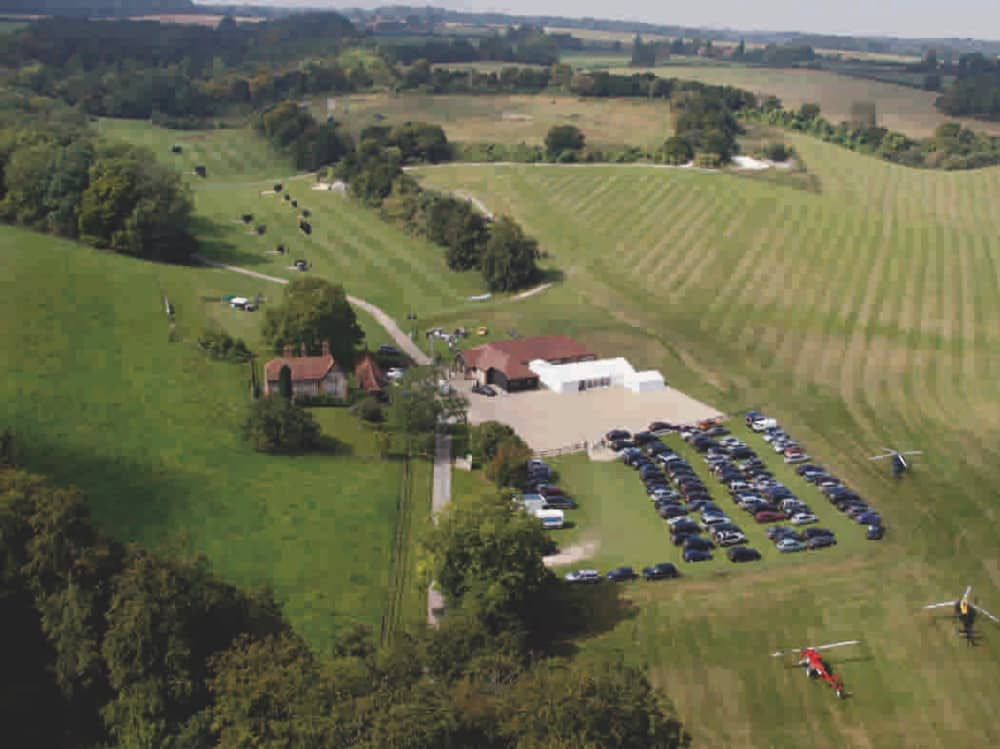 Royal Berkshire Shooting School West Berkshire aerial view shooting Lodge and grounds