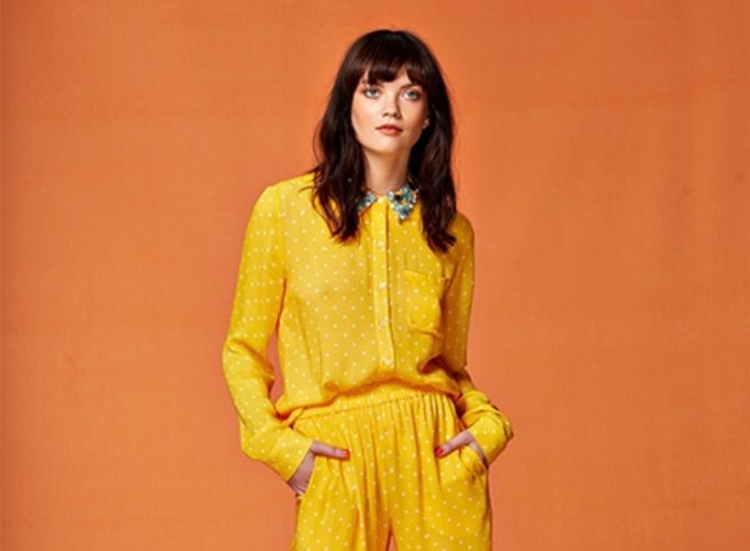 Essetiel Antwerp yellow and white polka dot embellished blouse Fifi and Moose Newbury