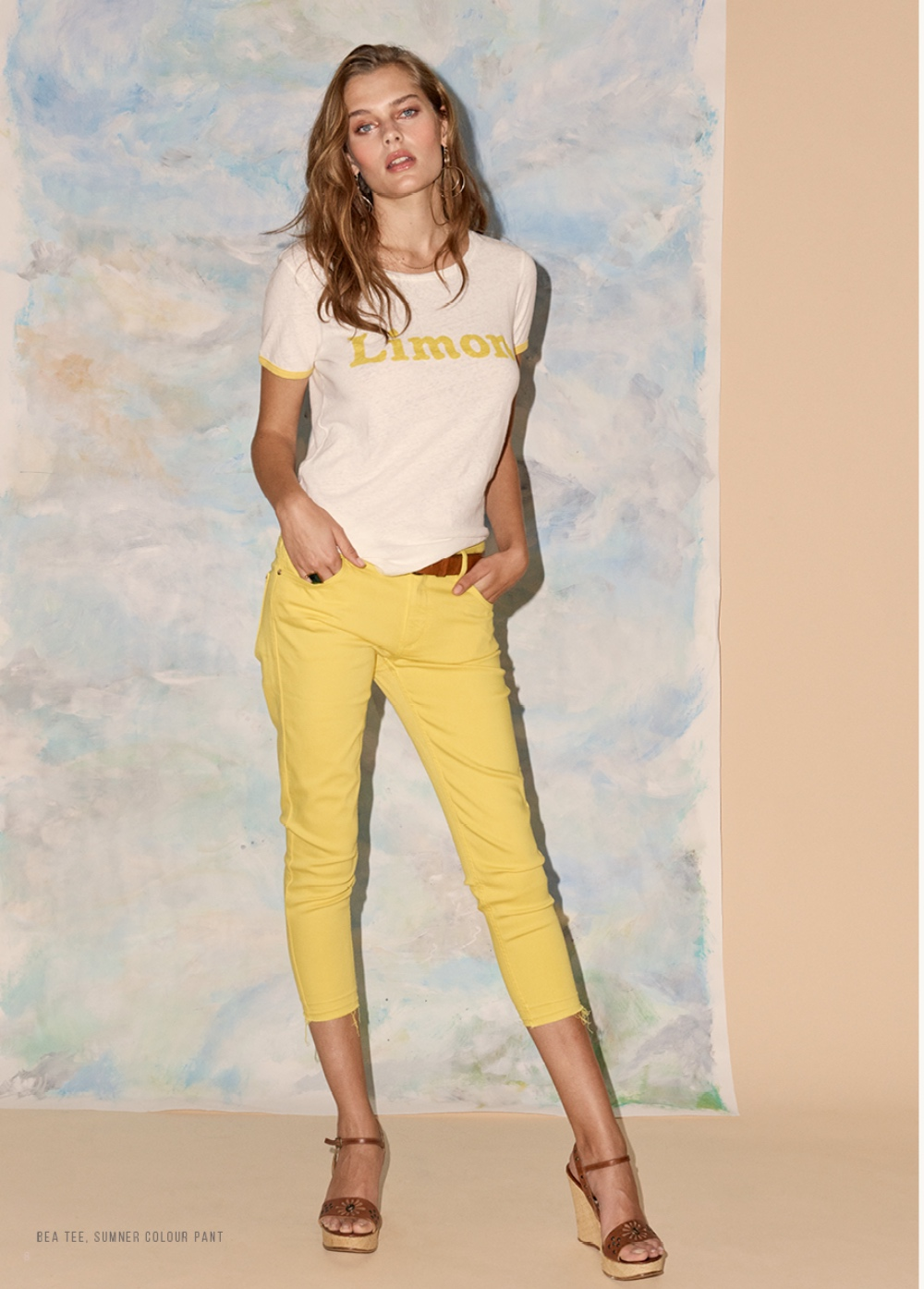 Mos Mosh Yellow cropped jeans Fifi and Moose Newbury and Limon slogan t shirt