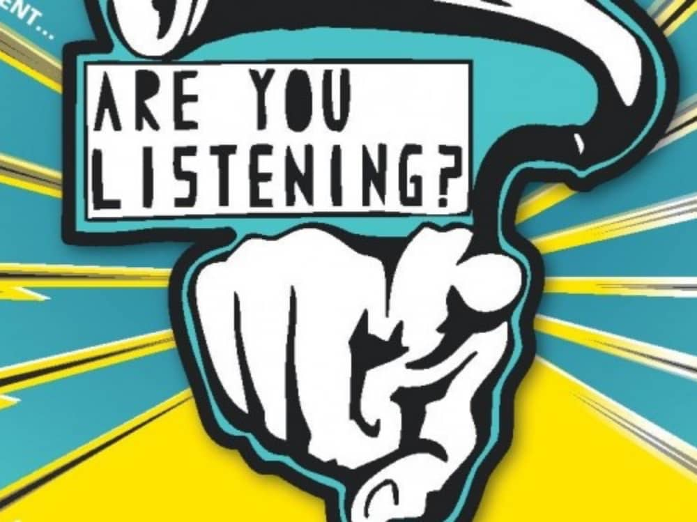 Turquoise yellow what and black illustration of a pointing hand – Are Your Listening festival
