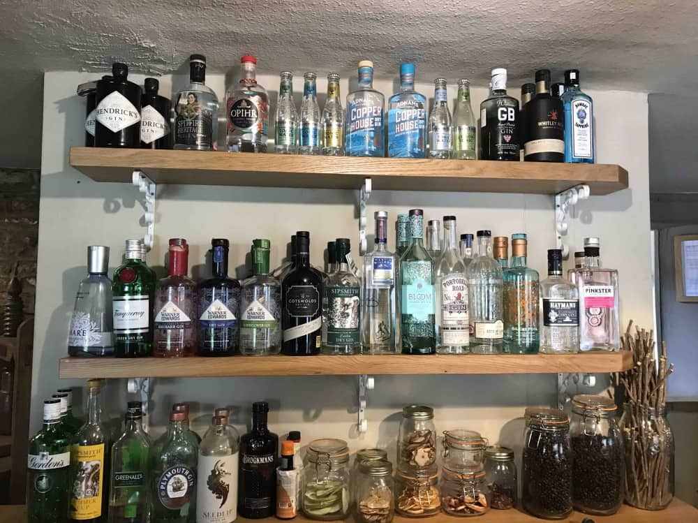 bottles of gin lined up on 2 wooden shelves in a bar