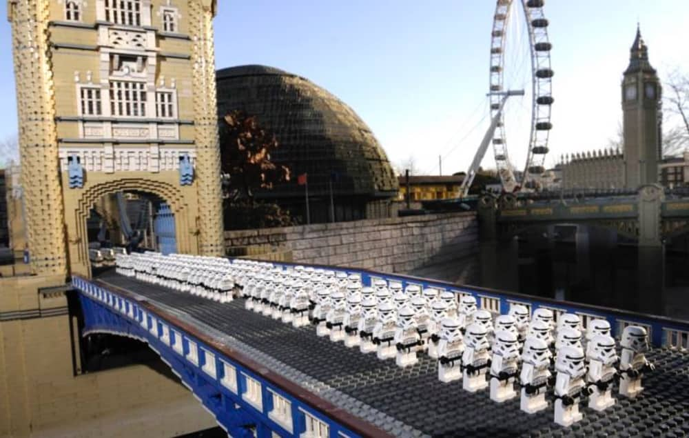 Star wars Lego troopers marching across tower Bridge Big Ben and London Eye in the background