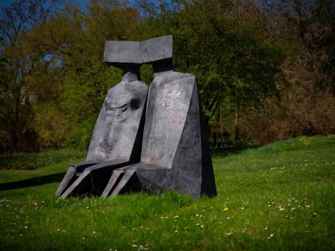 Lynn Chadwick metal work sculptures of human form at Cliveden House