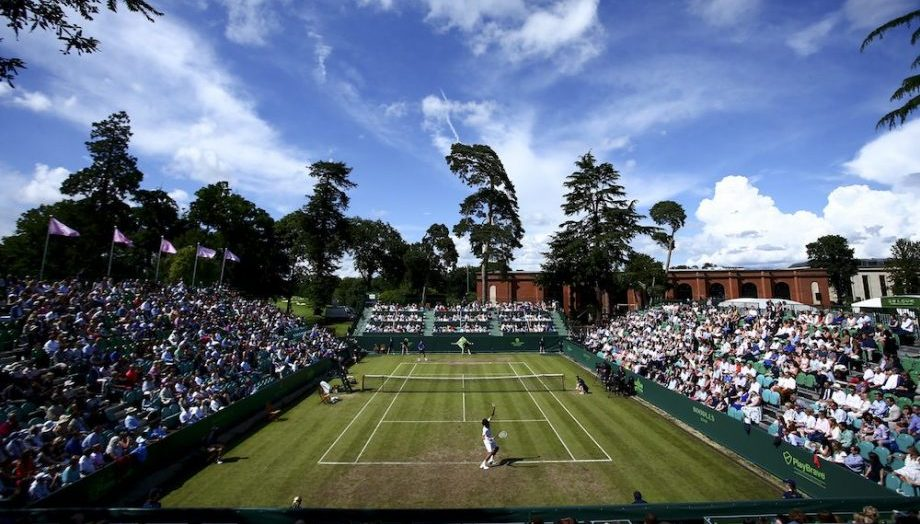 Crowds watching tennis at Stonor Park Buckinghamshire for Boodles Tennis Tournament