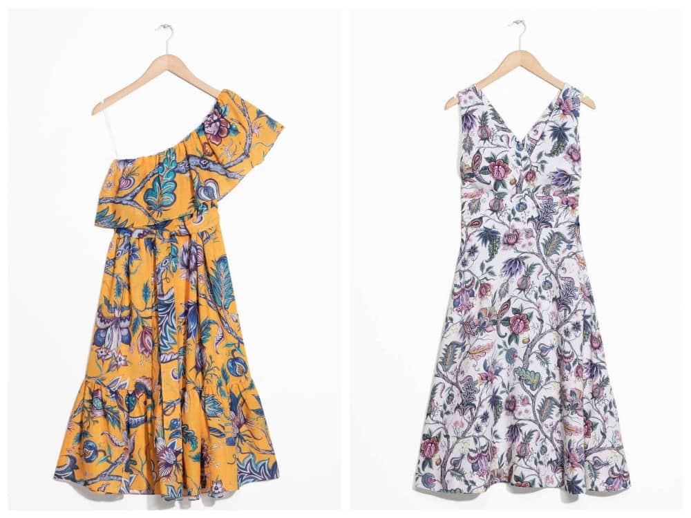 House of Hackney for & Other Stories dresses – yellow ruffle one shoulder, white a line print