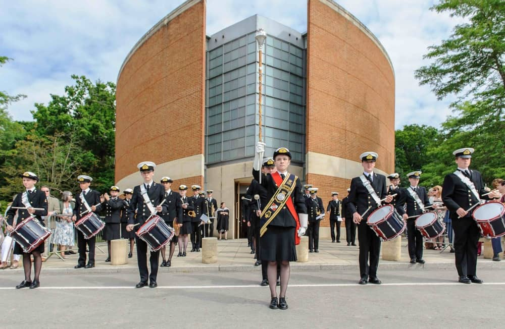 Pangbourne College pupils wearing No1 Naval cadet uniform Falkland Memorial Chapel Marching band