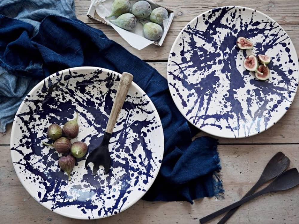 Pepper and Ink blue and white painterly effect salad plates and navy blue table linen