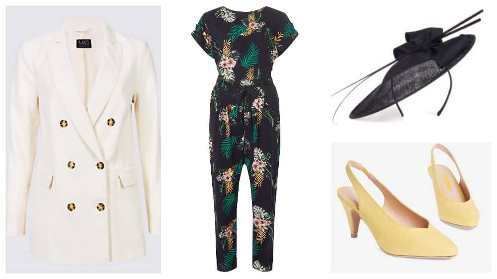 Fashion collage The Lexicon Bracknell – jumpsuit jacket hat and yellow shoes