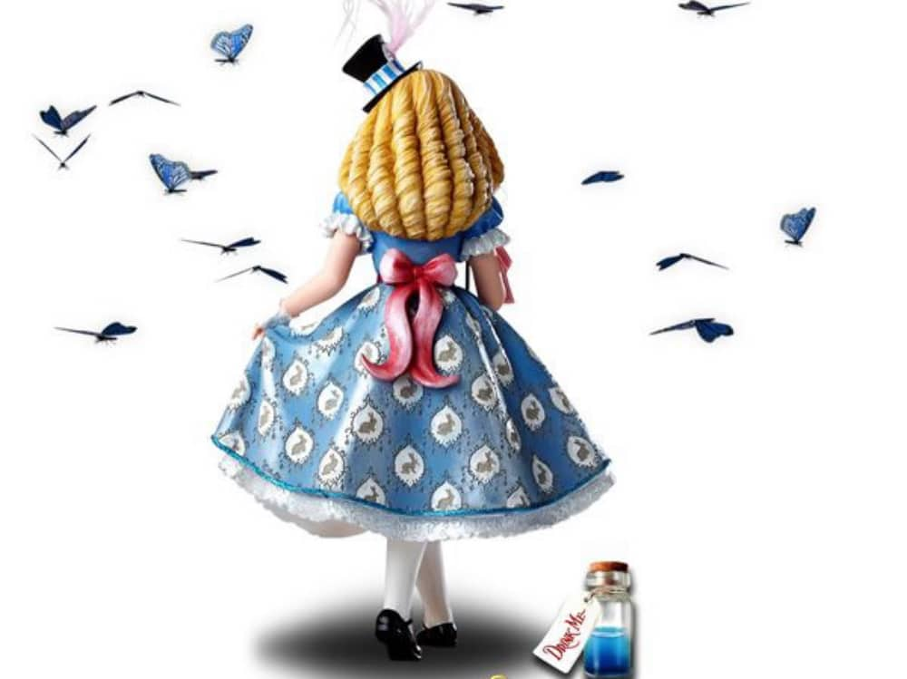 Illustration of alice in Wonderland read ver blonde hair blue dress and drink me potion
