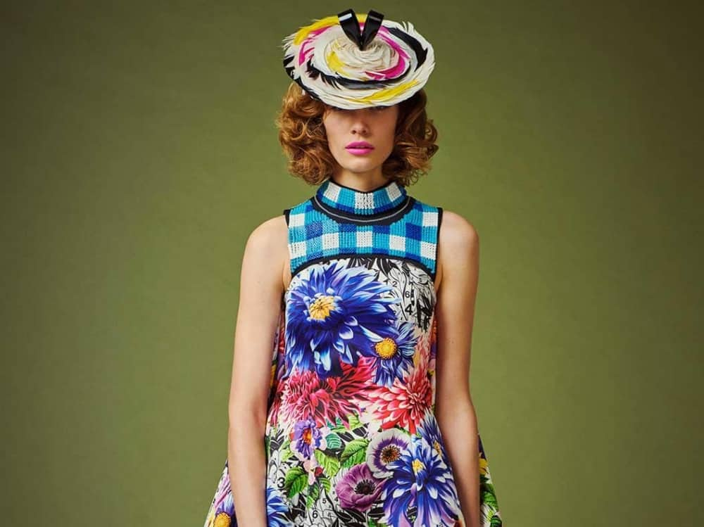 Royal Ascot fashion – funky village enclosure colourful floral dress and hat