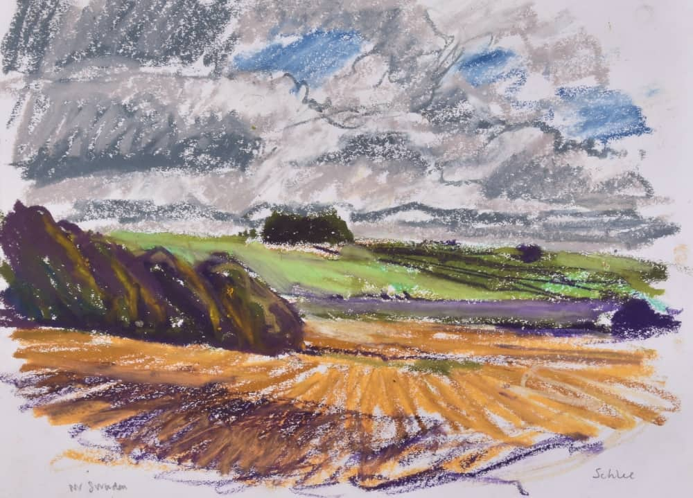 British artist Nick Schlee Ridgeway landscape drawing of Berkshire countryside Hackmen Wiltshire