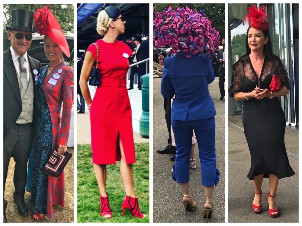 Royal Ascot 2018 Muddy Stilettos Berkshire fashion favourites Jax Meehan of Jax Jeans Hungerford, Georgie Hoffman Field & Frolic both wearing red Milliner wearing butterfly hat and bright blue suit and dramatic black dress and red hat and shoes