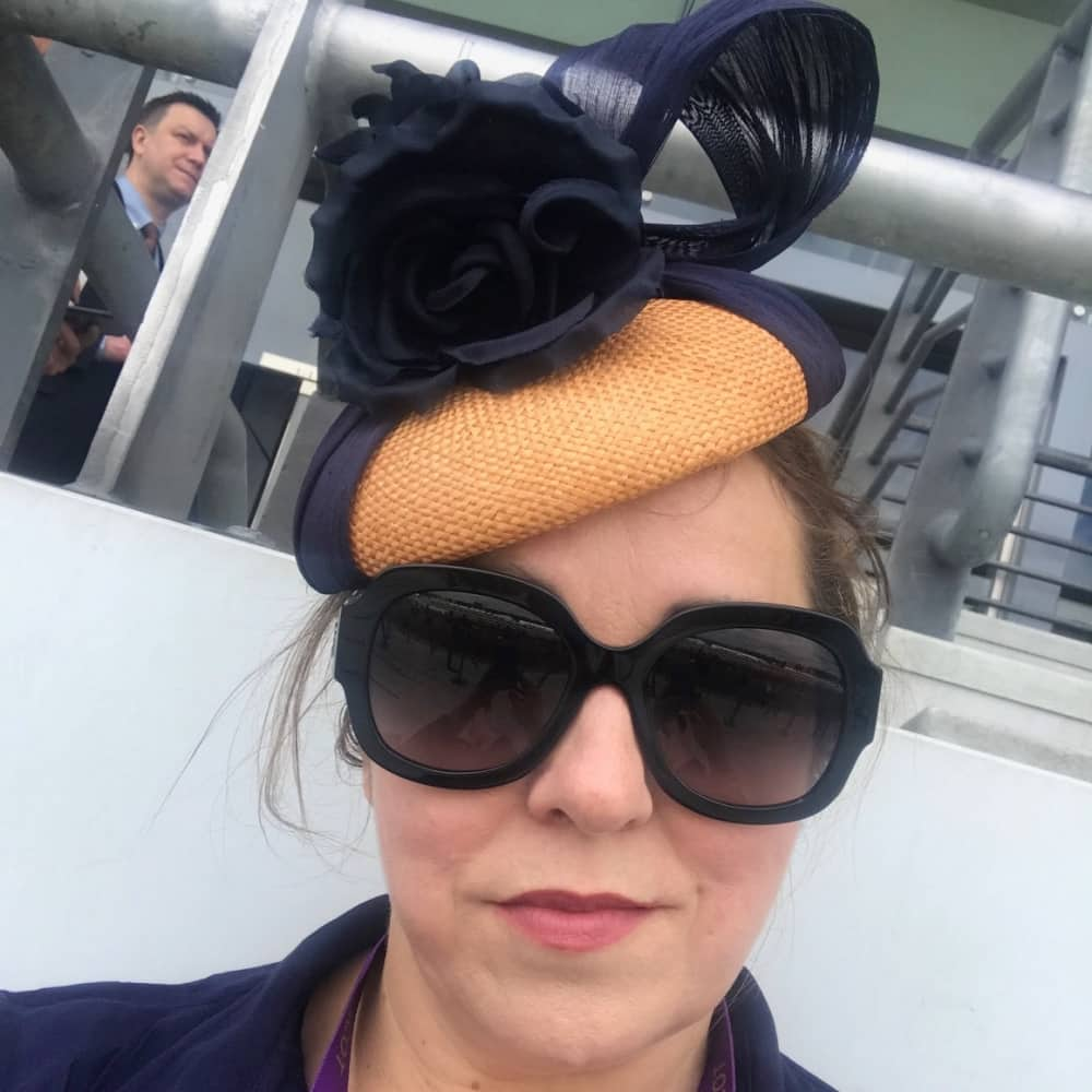 Muddy Stilettos Berkshire Editor rachel Jane Royal Ascot 2018 ornate and navy headpiece and oversized sunglasses