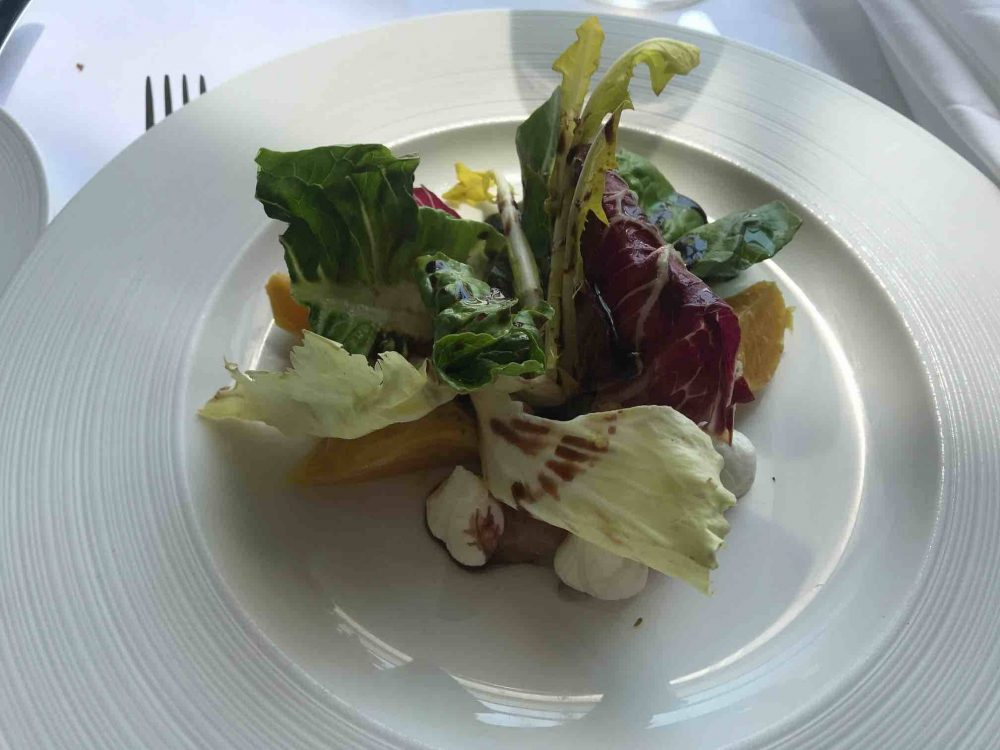 Cliveden House Hotel Andre Garrett Garden salad with lettuce and red and yellow beetroot
