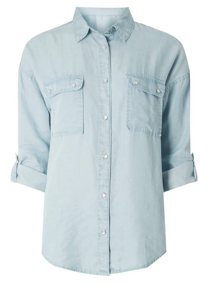 Dorothy Perkins light blue denim with two chest pockets roll sleeve and metal stuff buttons