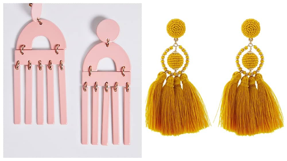 Pink graphic statement earring and mustard tassels earring Holiday Capsule Wardrobe collage