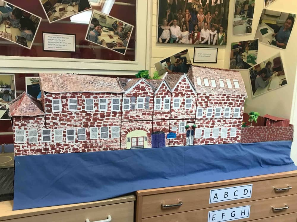 Highfield Prep School Maidenhead Berkshire cardboard model of the period school created by the pupils to celebrate 100 years