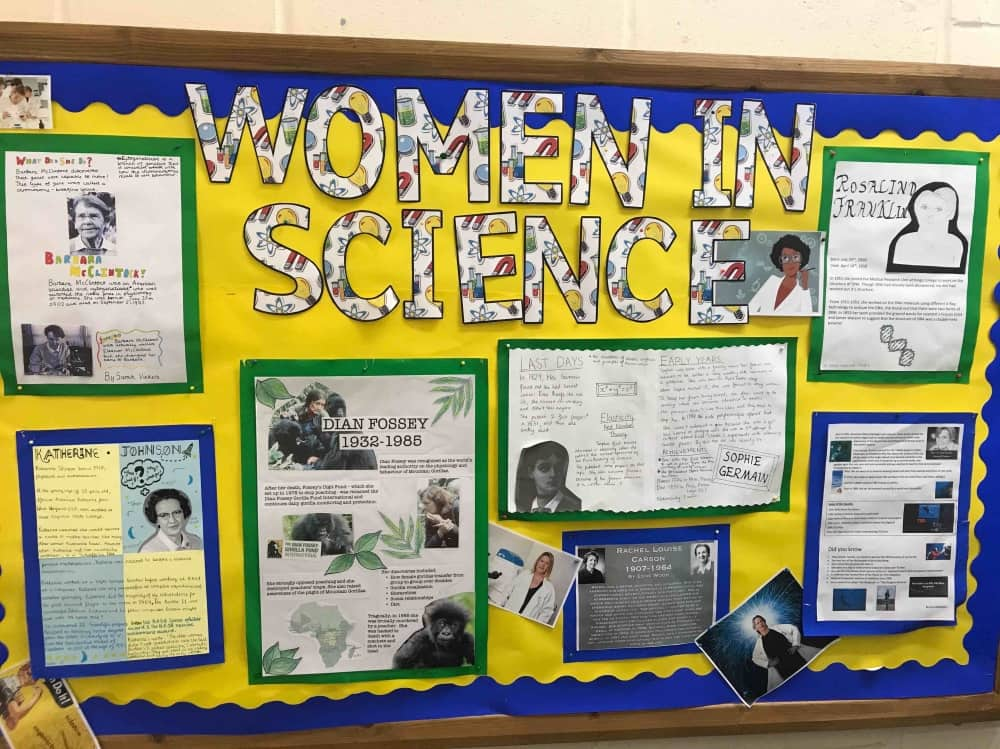Highfield Prep School science board celebrating women in science