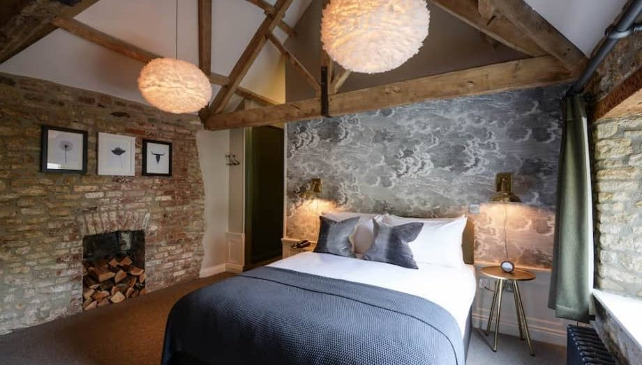 Muddy Stilettos Berkshire Best Pubs with Rooms The Litton in Wells somerset feather lists, cole and sone cloud wallpaper and exposed beams