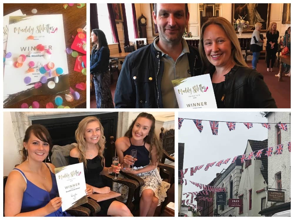 Muddy Stilettos Awards Berkshire 2018 winners drinks Windsor Guildhall collage Awards certificates, Concertini, Union Jack bunting and Beautiful Escapes Treat