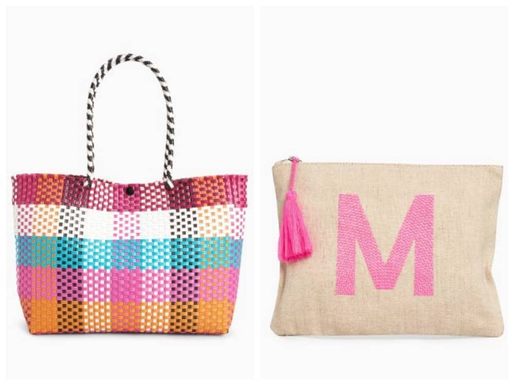 Next Multi coloured woven beach bag and canvas pouch beach essentials