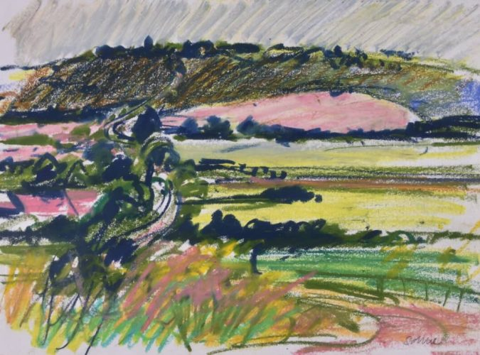 British artist Nick Schlee drawings of The Ridgeway landscape Pink and green drawing
