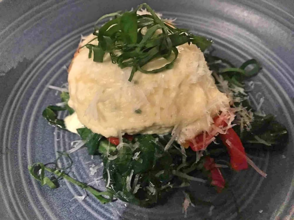 Old Boot Stanford Dingley twice cooked cheese shuffle with wild garlic and roasted peppers