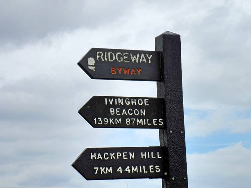 The Ridgeway ancient trail from Wiltshire via Oxfordshire Berkshire to the Chilterns black signpost