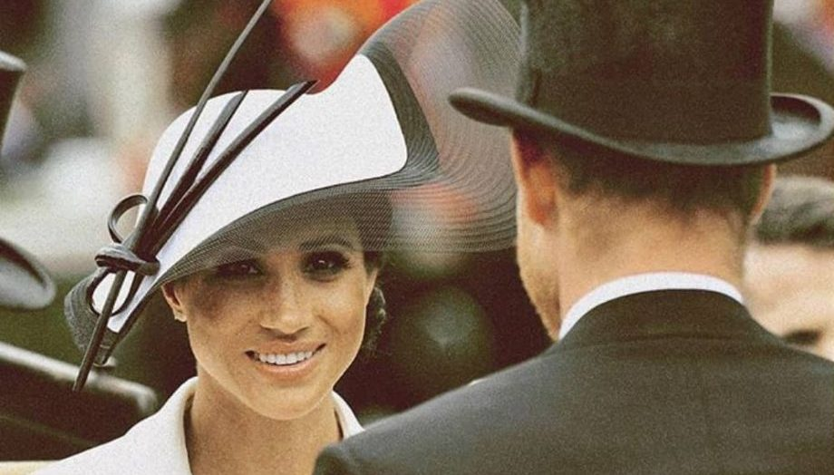 Royal Ascot 2018 Duchess of Sussex in black and white Philip Treacy hat and what Givenchy dress opposite Prince Hary in Traditional Top Hat and tails