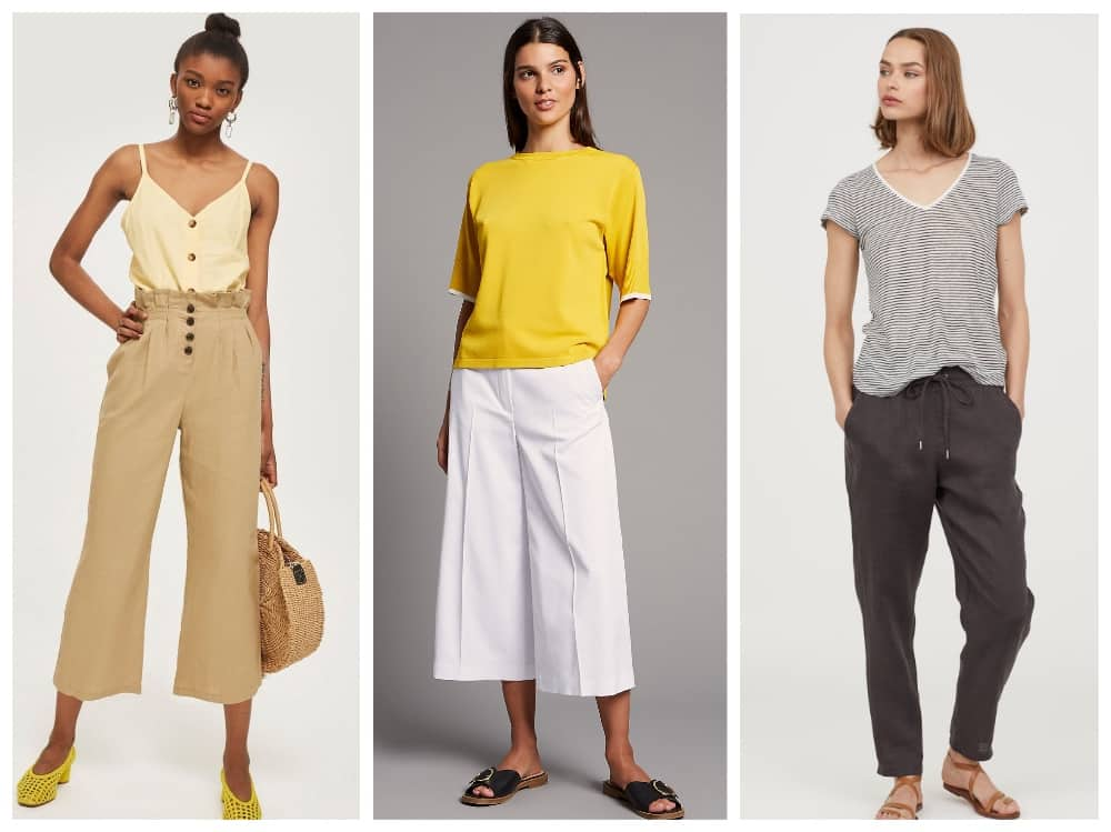 Holiday Capsule Wardrobe linen and cotton cropped trousers