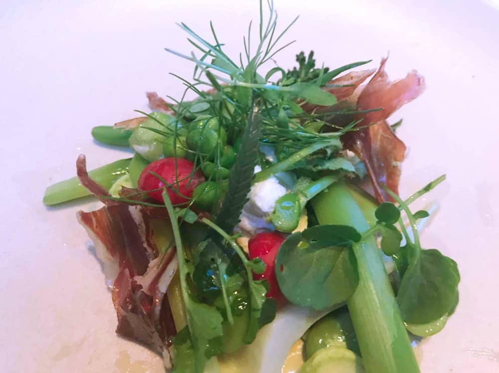 Vegetable salad iberico ham Michelin star chef Shay Cooper Back to the Vin The Vineyard Stockcross Berkshire