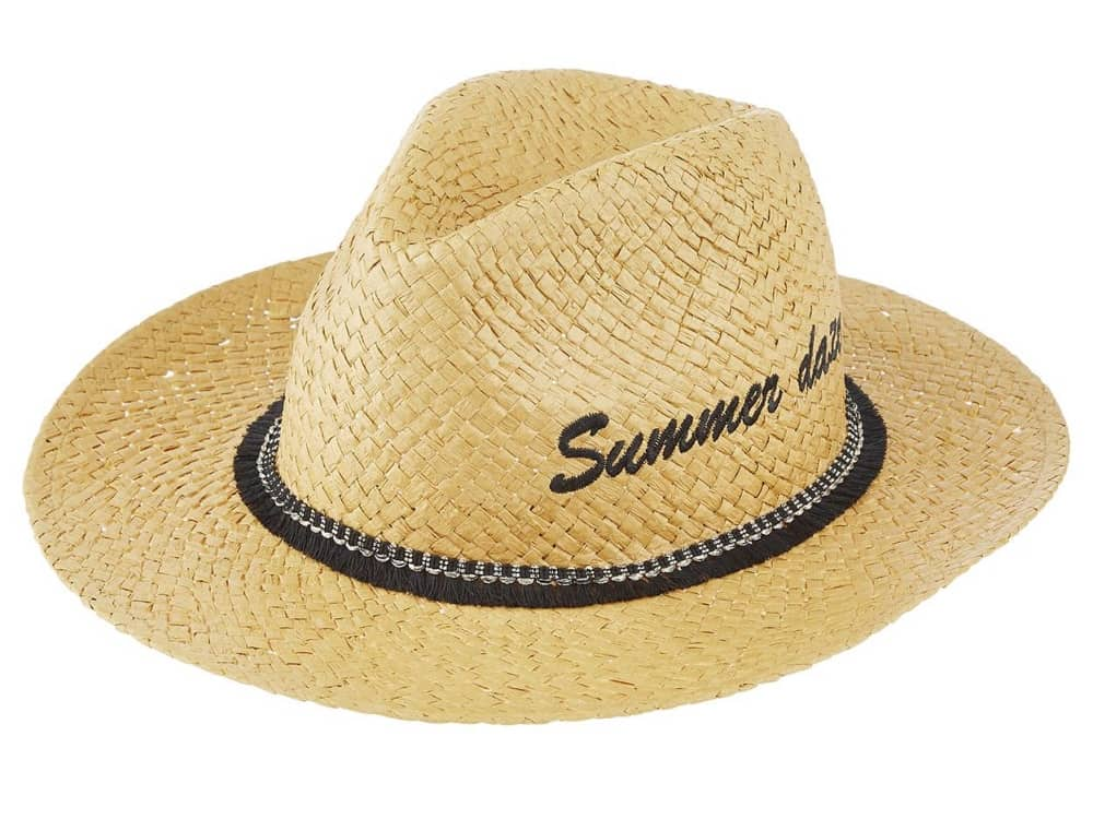Straw hat Summer Daze embroidered fedora Accessorize