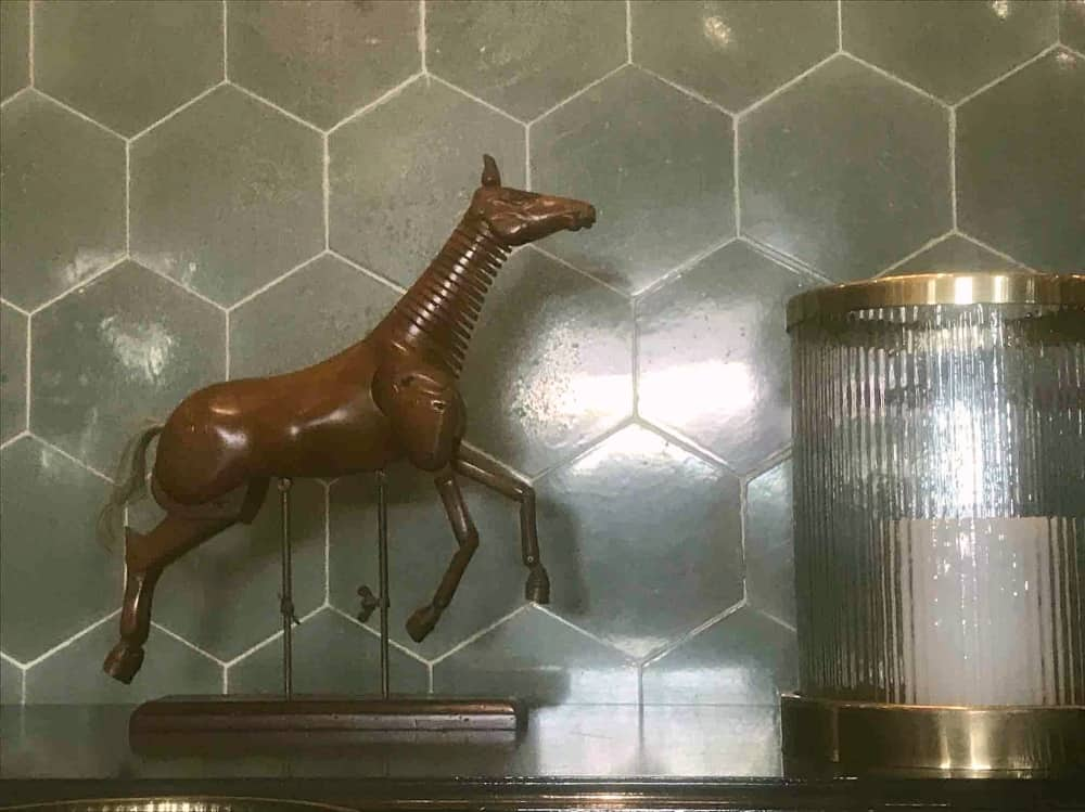 Cliveden House Hotel Astor Grill horse ornament brass and glass table lamp with original hexagonal sea green tiles