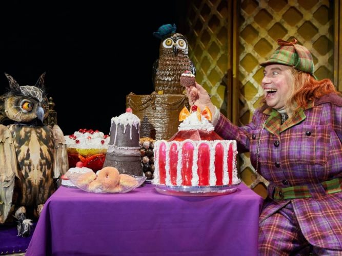 David Walliams' Awful Auntie Reading Hexagon Cake table owl and awful auntie stage production