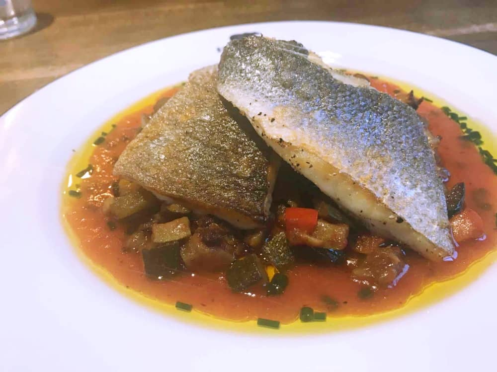 The Dolphin Newbury Berkshire sea bass fillets and ratatouille