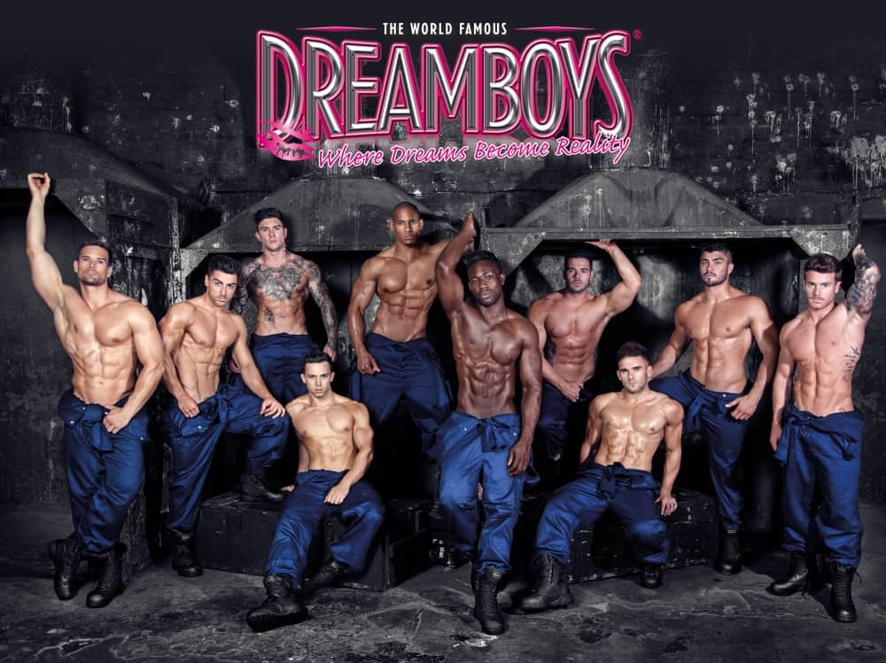 The Dreamboys The Hexagon Reading Topless in overalls