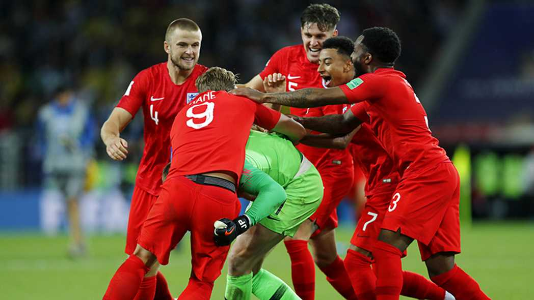 England Football team World Cup 2018 Pickford pile up