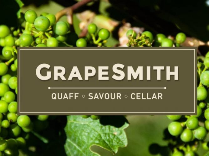 Grape smith wine shop Barrs Yard Hungerford Berkshire logo on background of grapes