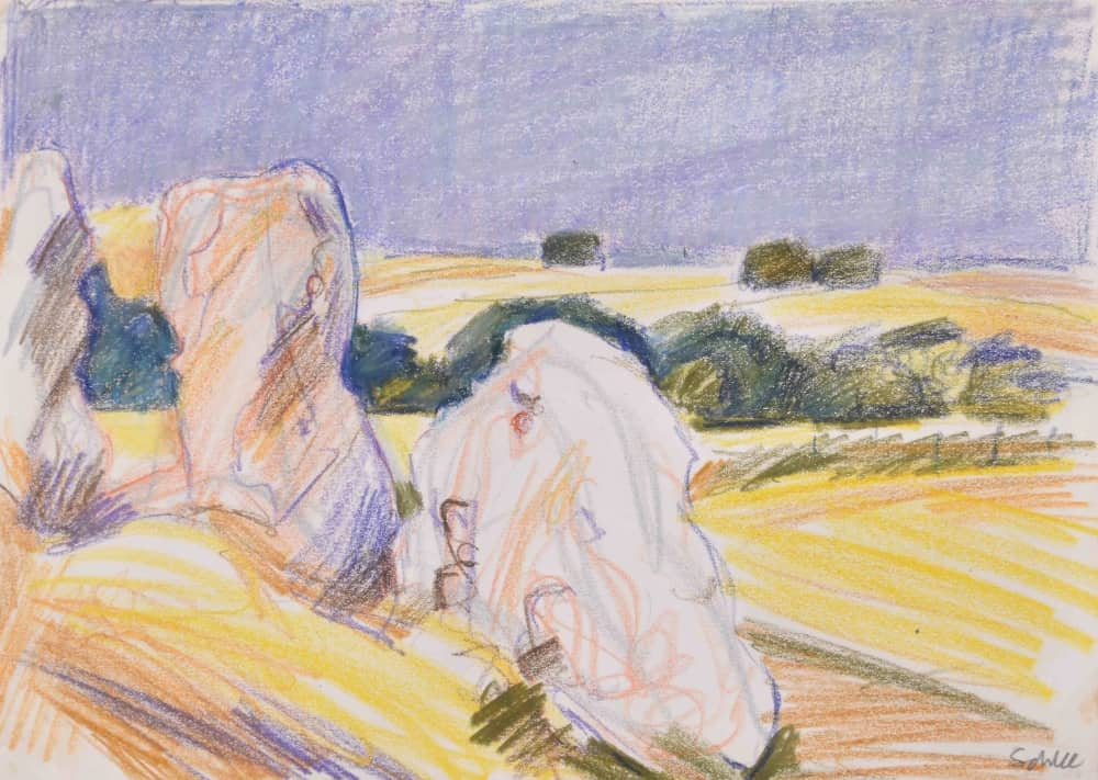 Nick Schlee oil pastel drawing of Avebury Wiltshire neolithic stones