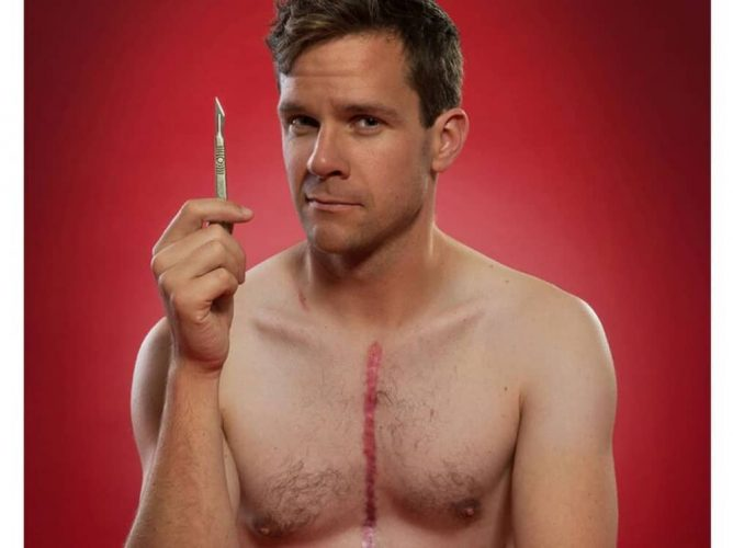 Reading Fringe CHESTPAINS half naked man holding scalpel with chest scar