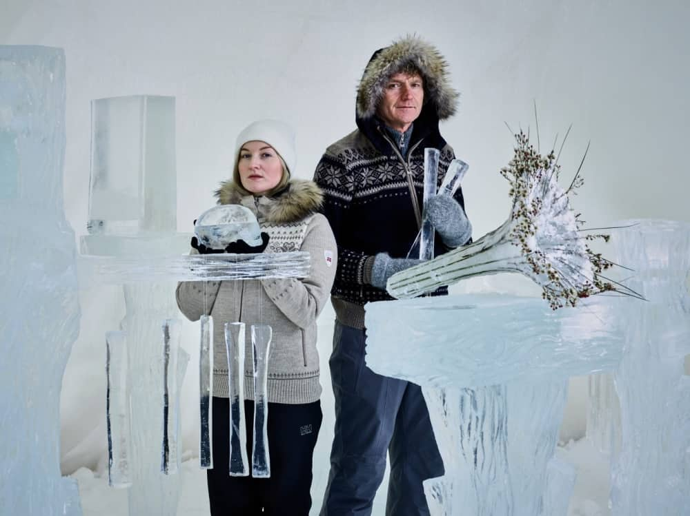 Reading Fringe Ice music 2016 Terje Isungset Maria Scrapes man and woman surrounded by ice made int instruments wearing hats and fur trimmed coats