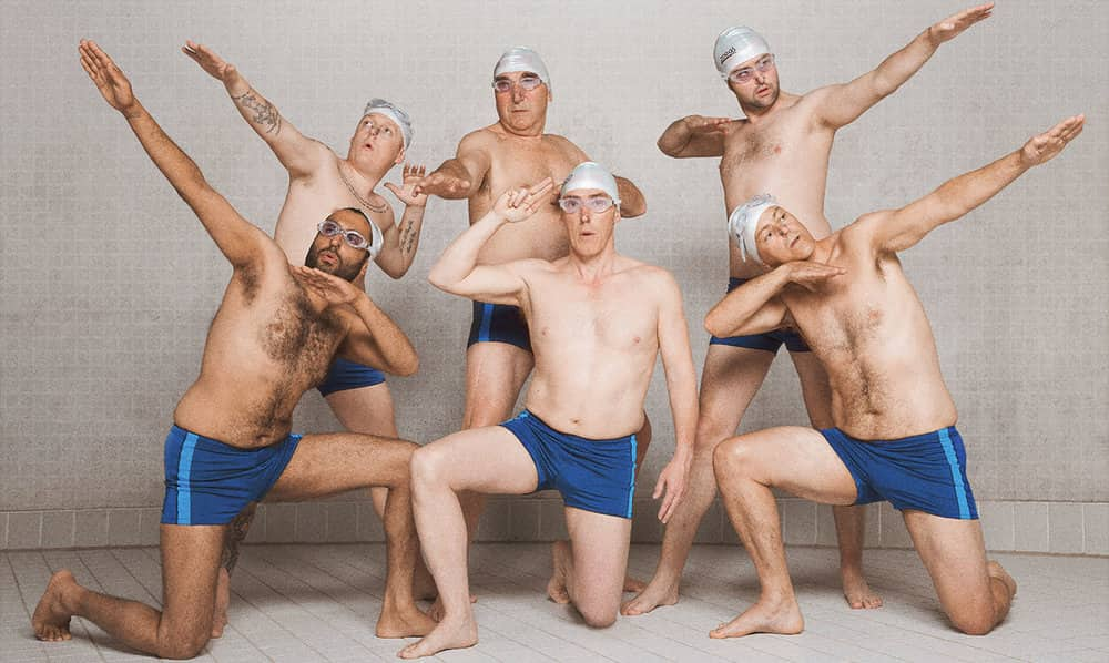 Male Synchronised swimming team Swimming With Men film starring Rob Brydon and Jane Horrocks Corn Exchange newbury