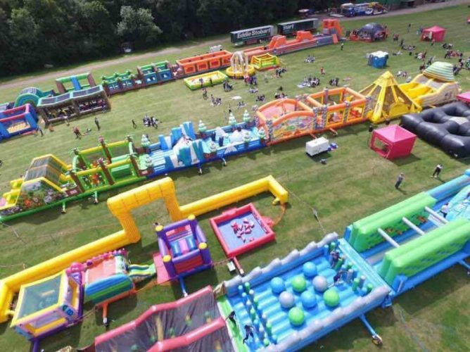 Giant inflatable assault course in reading Berkshire