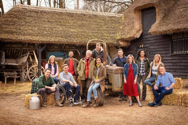BBC Countryfile Live Blenheim Palace presenters sat on hay bales