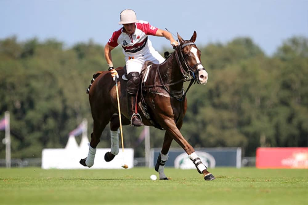 Royal county of Berkshire Polo Club International Day formerly Cartier International Polo rider with mallet on horse