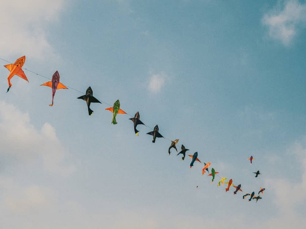 Long line of fish aeroplane kites flying in the sky
