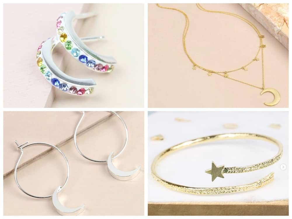 Millie Pink older children jewellery rainbow cuff earrings star bracelet and moon hoop earrings