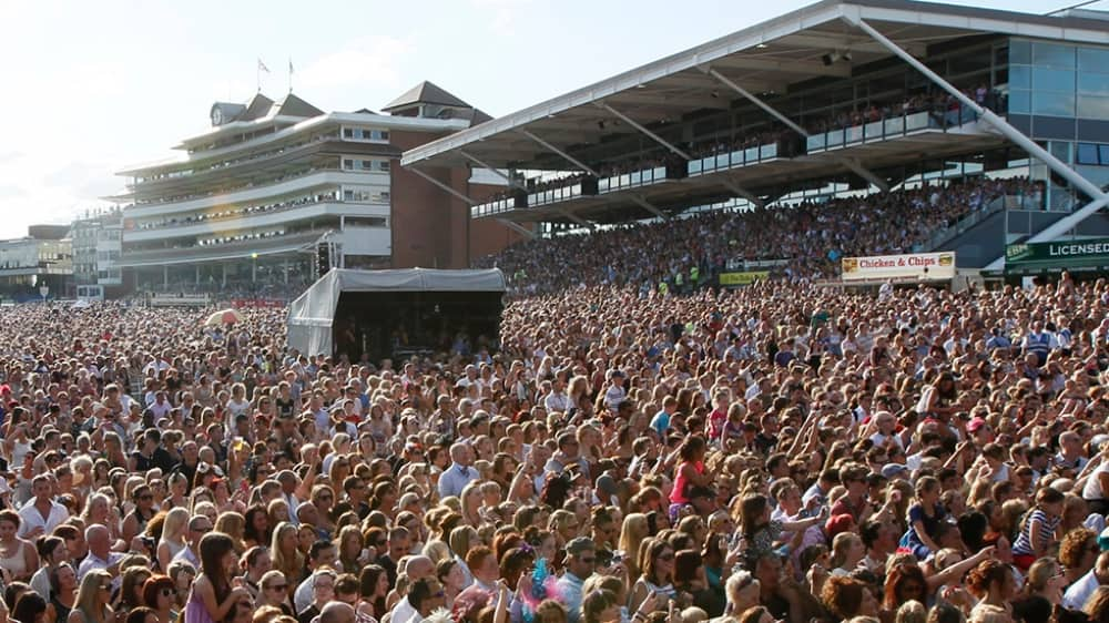 Newbury Racecourse crowds at Party in the Paddock Rudimental Ladies Days Aug 18 Berkshire