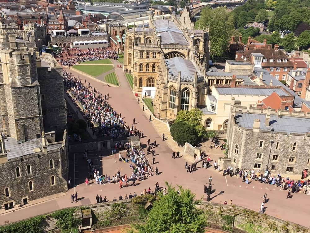 Windsor Castle view from the round tower of St george's Chapel on Harry and Maghan's wedding day